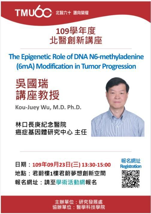 講題:The Epigenetic Role of DNA N6-methyladenine (6mA) Modification in Tumor Progression 講者:林口長庚紀念醫院癌症基因體研究中心 吳國瑞 講座教授